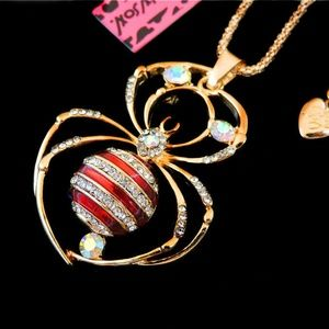 Betsey Johnson Red Widow Spider Necklace Wild Life